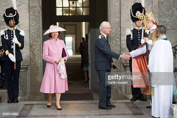 King Carl Gustaf of Sweden and Queen Silvia of Sweden arrive at the Royal Palace to attend Te Deum Thanksgiving Service to celebrate the 70th...
