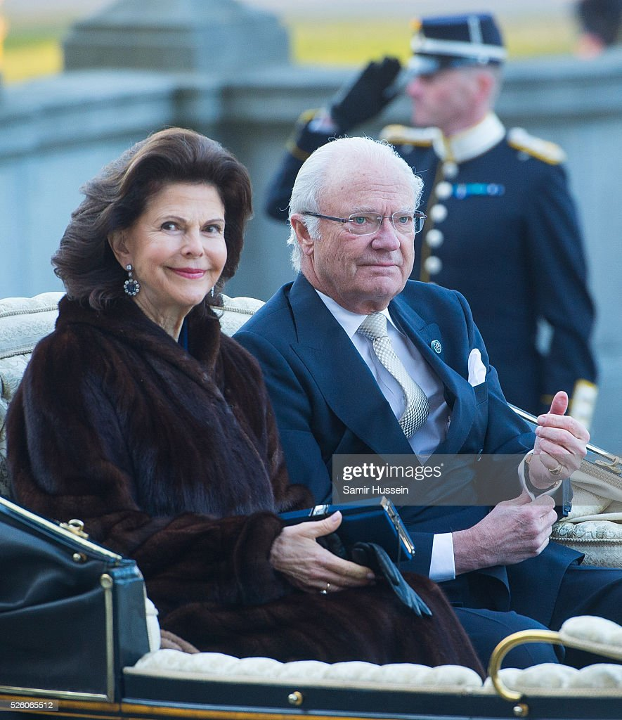 King Carl Gustaf of Sweden and Queen Silvia of Sweden arrive by carriage to the Nordic Museum to attend a concert of the Royal Swedish Opera and Stockholm Concert Hall to celebrate the 70th birthday of King Carl Gustaf of Sweden on April 29, 2016 in Stockholm, Sweden.