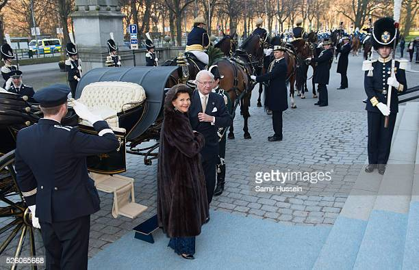 King Carl Gustaf of Sweden and Queen Silvia of Sweden arrive by carriage to the Nordic Museum to attend a concert of the Royal Swedish Opera and...