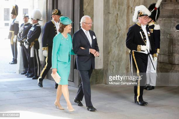 King Carl Gustaf of Sweden and Queen Silvia of Sweden arrive for a thanksgiving service on the occasion of The Crown Princess Victoria of Sweden's...