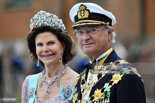 King Carl Gustaf of Sweden and Queen Silvia of Sweden attend the Cortege for Crown Princess Victoria of Sweden and Daniel Westling on June 19 2010 in...