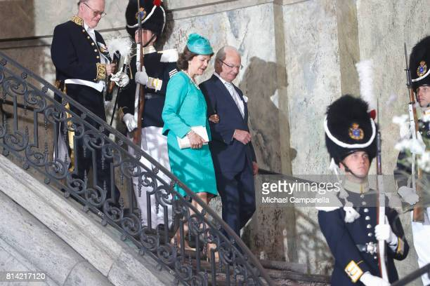 King Carl Gustaf of Sweden and Queen Silvia of Sweden depart after a thanksgiving service on the occasion of The Crown Princess Victoria of Sweden's...