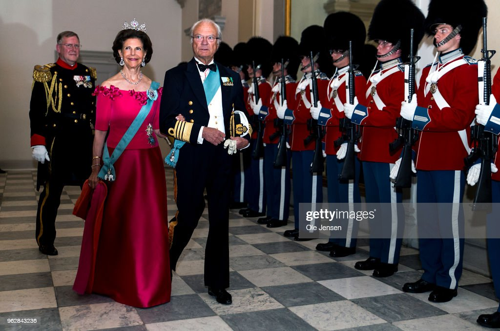 King Carl Gustaf of Sweden and wife Queen Silvia arrive to the gala banquet on the occasion of The Crown Prince's 50th birthday at Christiansborg Palace on May 26, 2018 in Copenhagen, Denmark. Some 350 guest participated in the event