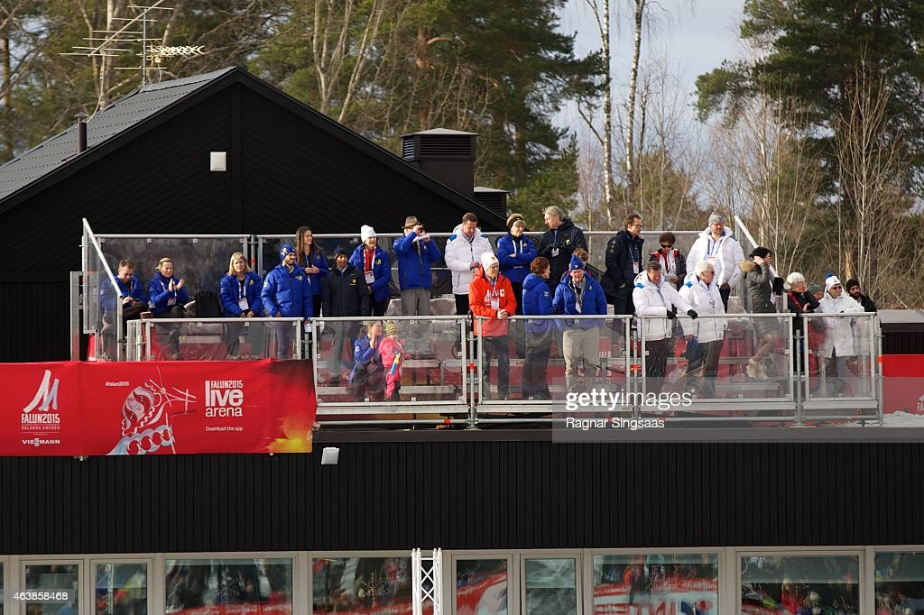 King Carl Gustaf of Sweden, Queen Silvia of Sweden, Crown Princess Victoria of Sweden, Princess Estelle of Sweden, Prince Carl Philip of Sweden and Sofia Hellqvist attend the opening of the FIS Nordic World Ski Championships on February 19, 2015 in Falun, Sweden.