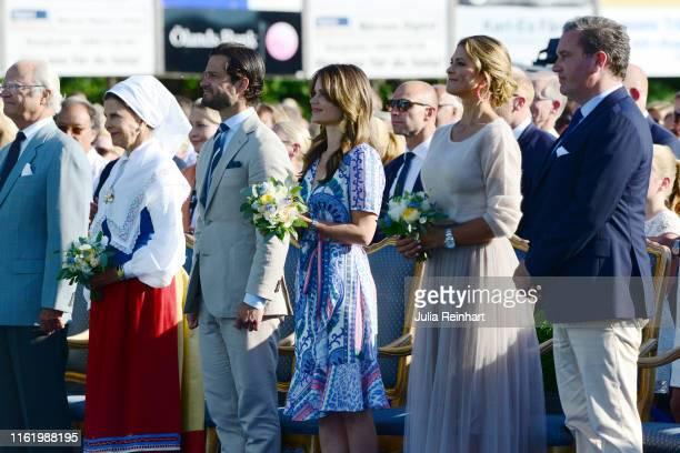 King Carl Gustaf of Sweden, Queen Silvia of Sweden, Prince Carl Philip of Sweden, Princess Sofia of Sweden, Princess Madeleine of Sweden and her...
