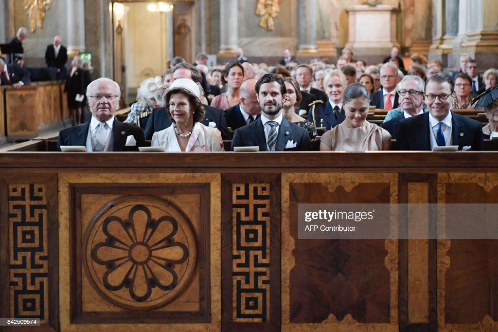 King Carl Gustaf of Sweden, Queen Silvia of Sweden, Prince Carl Philip of Sweden, Crown Princess Victoria and Prince Daniel of Sweden are pictured at the Te Deum ceremony at the Royal Chapel for the new born Prince Gabriel, son of Prince Carl Philip and Princess Sofia, in Stockholm on September 04, 2017. AGENCY / Anders WIKLUND / Sweden OUT