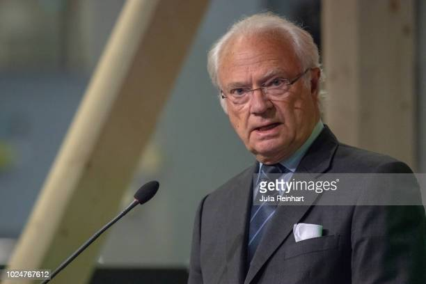 King Carl Gustaf Of Sweden speaks at the opening ceremony of The Wood and Technology Trade Fair at Svenska Mässan on August 28 2018 in Gothenburg...