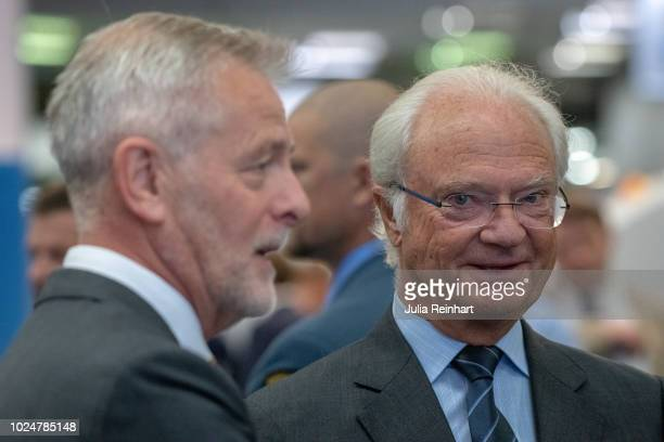 King Carl Gustaf Of Sweden visits several companies in the exhibition hall of The Wood and Technology Trade Fair at Svenska Mässan on August 28 2018...