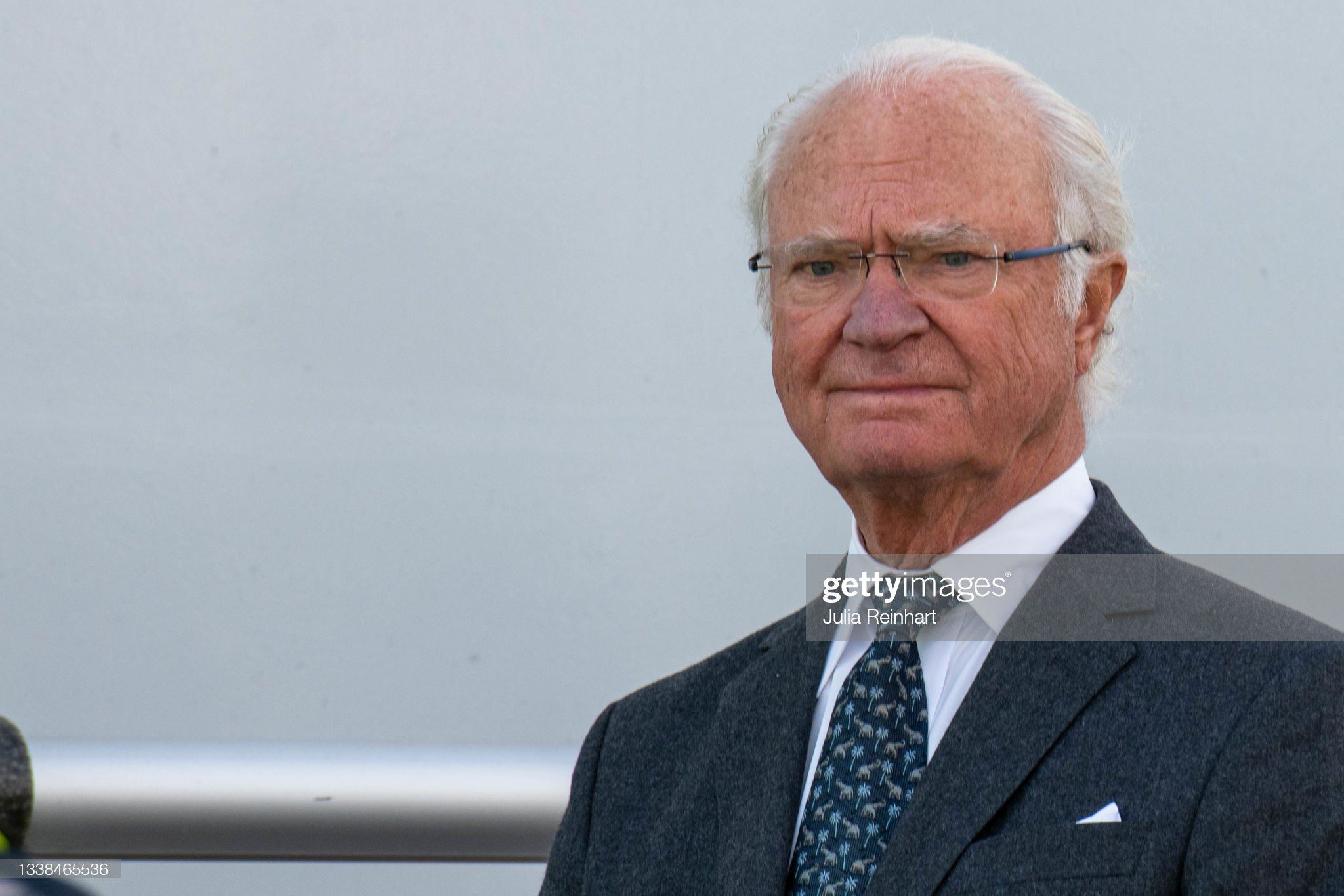 King Carl Gustaf Of Sweden Visits The Hisingsbron Project In Gothenburg : News Photo
