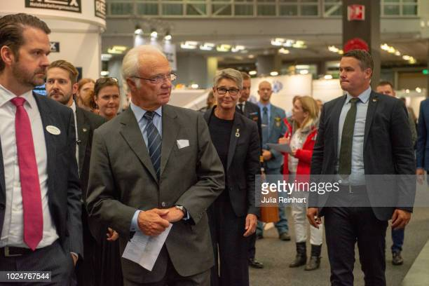 King Carl Gustaf Of Sweden visits The Wood and Technology Trade Fair at Svenska Mässan on August 28 2018 in Gothenburg Sweden