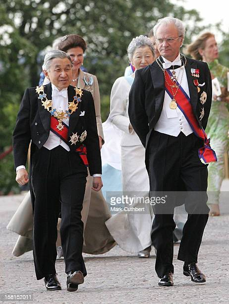 King Carl Gustaf With His Imperial Majesty Emperor Akihito Of Japan Attend The Tercentenary Birthday Celebrations For Carl Linnaeus In Sweden.Banquet...