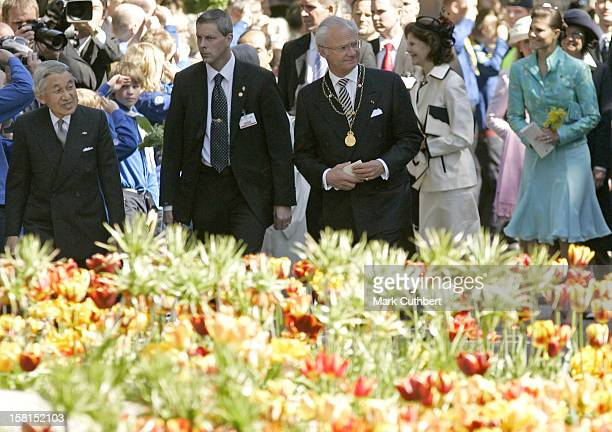 King Carl Gustaf With His Imperial Majesty Emperor Akihito Of Japan Attend The Tercentenary Birthday Celebrations For Carl Linnaeus In...