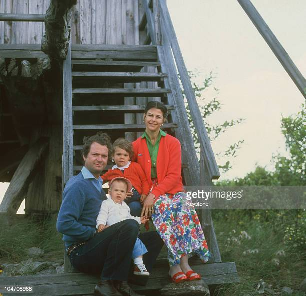 King Carl Gustaf XVI and Queen Silvia of Sweden with their children Prince Carl Philip and Crown Princess Victoria of Sweden at Solliden Castle on...