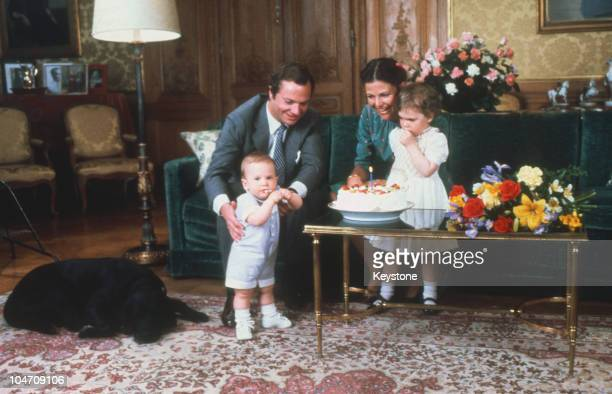 King Carl Gustaf XVI and Queen Silvia of Sweden with their children Princess Victoria and Prince Carl Philip during the King's 34th birthday on April...