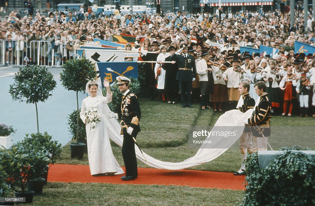 King Carl Gustaf XVI of Sweden marries Silvia Sommerlath at Stockholm Cathedral on June 19, 1976.