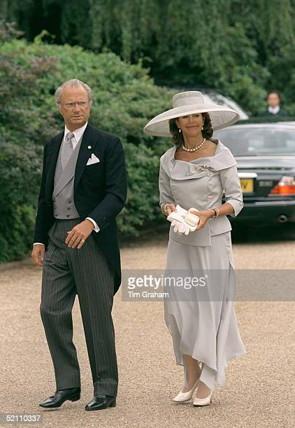 King Carl Gustav And Queen Silvia Of Sweden Arriving For The Wedding Reception For Princess Alexia Of Greece And Carlos Morales Quintana At Kenwood...