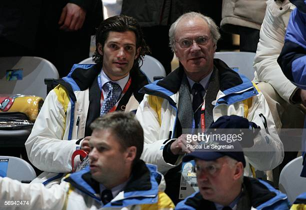 King Carl Gustav of Sweden and Prince Carl Philip attend the Closing Ceremony of the Turin 2006 Winter Olympic Games on February 26, 2006 at the...
