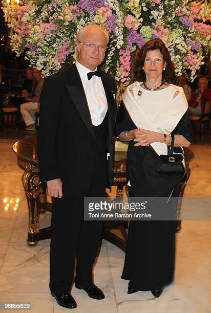 King Carl Gustav of Sweden and Queen Silvia of Sweden attend The World Scout Foundation Diner at Hotel de Paris on April 24 2010 in MonteCarlo Monaco