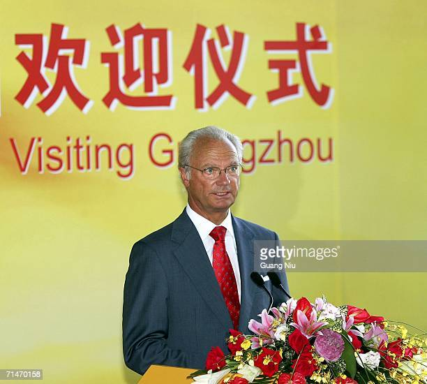 King Carl Gustav of Sweden makes a speech at a welcoming ceremony at Nansha Ferry Terminal on July 18 2006 in Guangzhou Guangdong province of China...