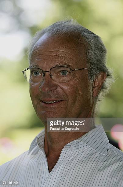 King Carl Gustav of Sweden poses as he attends the Princess's Victoria's Birthday in the Castle of Sollidens on July 14 2006 in Borgholm Sweden