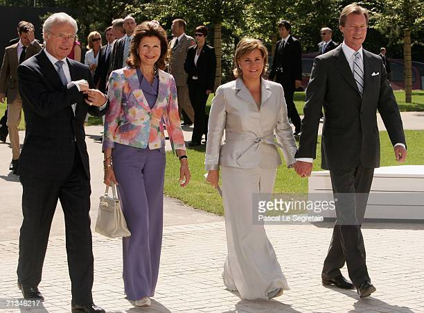 King Carl Gustav of Sweden Queen Silvia of Sweden Duchess Maria Teresa of Luxembourg and Grand Duke Henri of Luxembourg arrive to attend the...