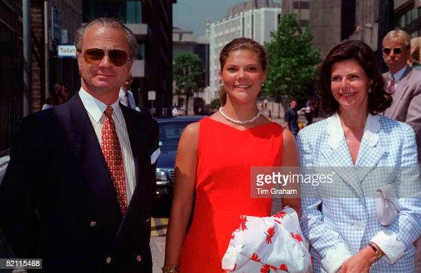 King Carl Gustav Queen Silvia And Their Daughterprincess Victoria Of Sweden At A Luncheon Hosted By Queen Of Denmark On Her Yacht On The River Thames