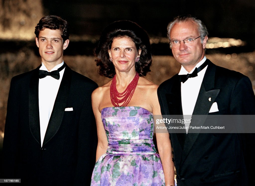 King Carl Gustav, Queen Silvia & Prince Carl Philip Of Sweden Attend The Gala Dinner At The Ceno Palacio On The Eve Of The Wedding Of Infanta Cristina Of Spain And Inaki Urdangarin.