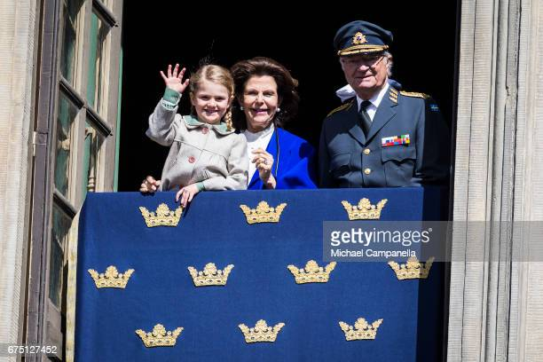 King Carl Gustav XVI of Sweden Queen Silvia of Sweden and Princess Estelle of Sweden during a celebration of King Carl Gustav's 71st birthday at the...