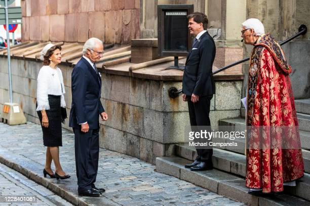 King Carl XVI Gustaf and Queen Silvia of Sweden attend a church service at Stockholm Cathedral in connection with the opening of the Swedish...