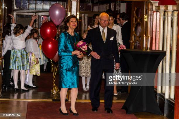 King Carl XVI Gustaf and Queen Silvia of Sweden attend a concert hosted by Lilla Akademien a music school for children at Vasa Theater on February 13...