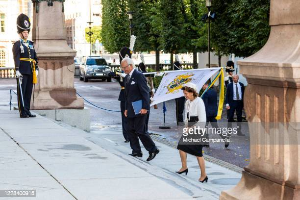 King Carl XVI Gustaf and Queen Silvia of Sweden attend the opening of the Swedish Parliament for the fall session at the Riksdag Parliament building...