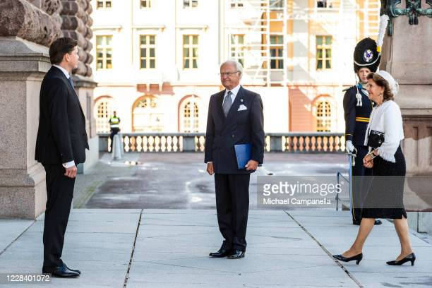 King Carl XVI Gustaf and Queen Silvia of Sweden attend the opening of the Swedish Parliament for the fall session and are greeted by speaker Andreas...