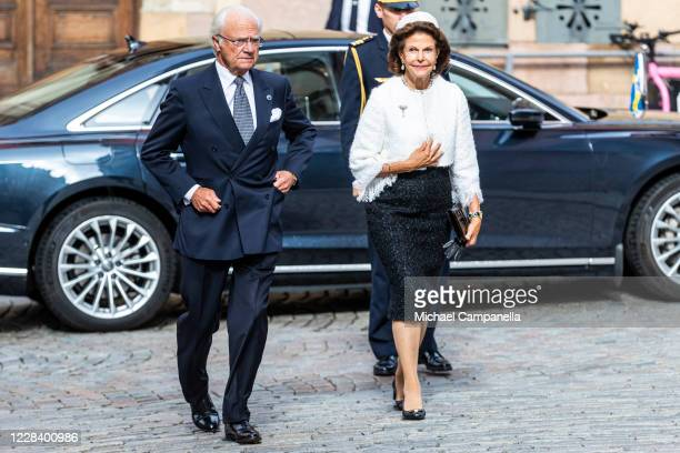 King Carl XVI Gustaf and Queen Silvia of Sweden attends a church service at Stockholm Cathedral in connection with the opening of the Swedish...