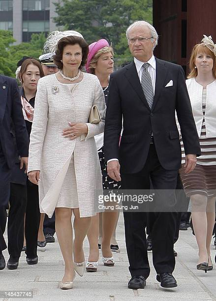 King Carl XVI Gustaf and Queen Silvia of Sweden visit at the Changdeok Palace on May 30 2012 in Seoul South Korea The Swedish royals are on the...