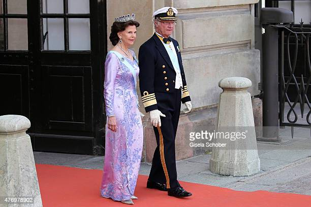 King Carl XVI Gustaf of Sweden and his wife Queen Silvia of Sweden attend the royal wedding of Prince Carl Philip of Sweden and Sofia Hellqvist at...