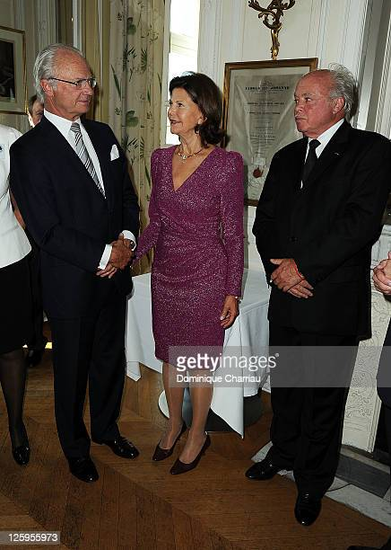 King Carl XVI Gustaf of Sweden and Queen Silvia and sculptor Gudmar Olovsson attend Swedish Club 75th Anniversary at Swedish Club on September 22...