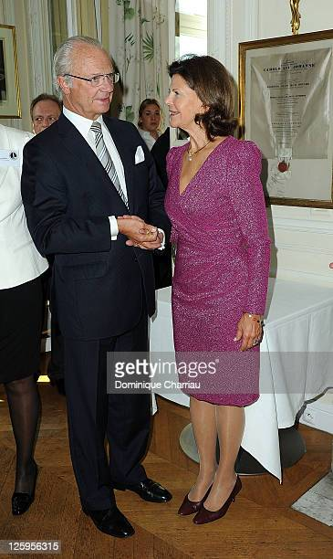 King Carl XVI Gustaf of Sweden and Queen Silvia Attend Swedish Club 75th Anniversary at Swedish Club on September 22 2011 in Paris France