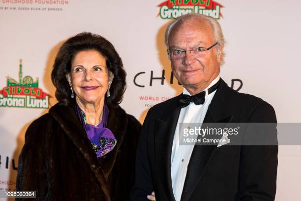 King Carl XVI Gustaf of Sweden and Queen Silvia of Sweden arrive at a charity dinner in connection with the World Childhood Foundations 20th...