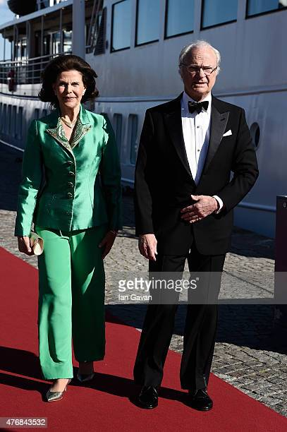 King Carl XVI Gustaf of Sweden and Queen Silvia of Sweden arrive for the prewedding dinner for Prince Carl Philip and Sofia Hellqvist on June 12 2015...