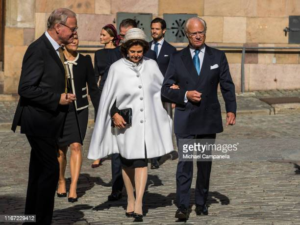 King Carl XVI Gustaf of Sweden and Queen Silvia of Sweden attend a church ceremony in connection with the opening of the Parliamentary session at the...