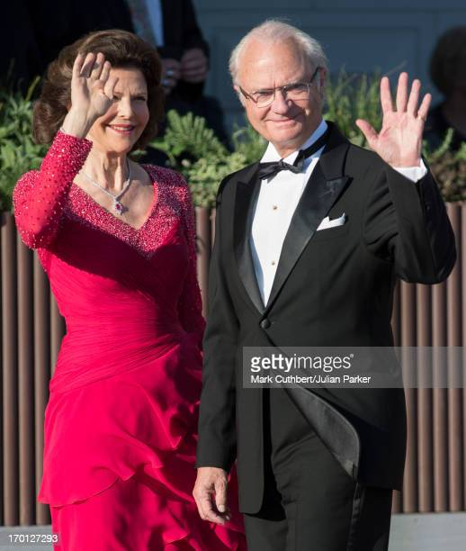 King Carl XVI Gustaf of Sweden and Queen Silvia of Sweden attend a private dinner on the eve of the wedding of Princess Madeleine and Christopher...