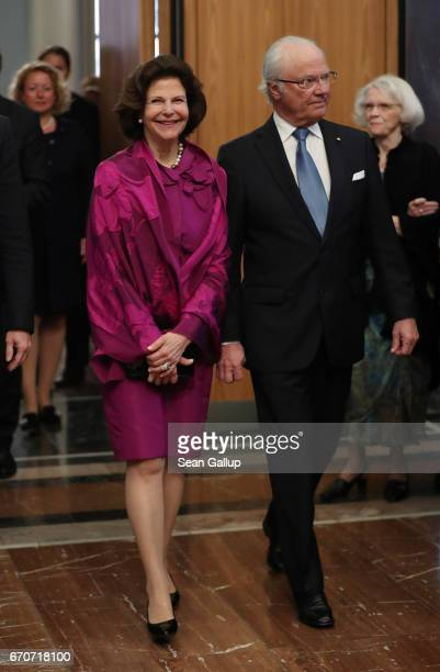 King Carl XVI Gustaf of Sweden and Queen Silvia of Sweden attend a reception for the World Scout Foundation at Berlin City Hall on April 20 2017 in...