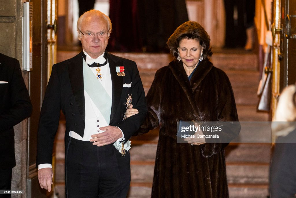 King Carl XVI Gustaf of Sweden and Queen Silvia of Sweden attend a formal gathering at the Swedish Academy on December 20, 2017 in Stockholm, Sweden.
