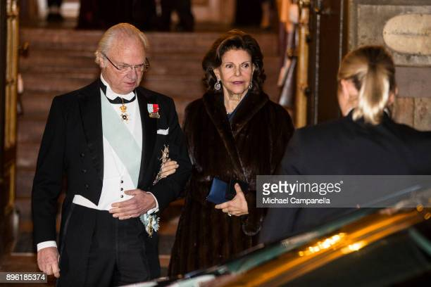 King Carl XVI Gustaf of Sweden and Queen Silvia of Sweden attend a formal gathering at the Swedish Academy on December 20 2017 in Stockholm Sweden