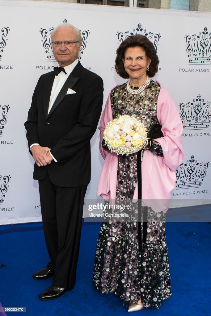 King Carl XVI Gustaf of Sweden and Queen Silvia of Sweden attend an award ceremony for the Polar Music Prize at Konserthuset on June 15, 2017 in Stockholm, Sweden.
