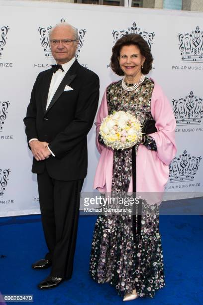 King Carl XVI Gustaf of Sweden and Queen Silvia of Sweden attend an award ceremony for the Polar Music Prize at Konserthuset on June 15, 2017 in...