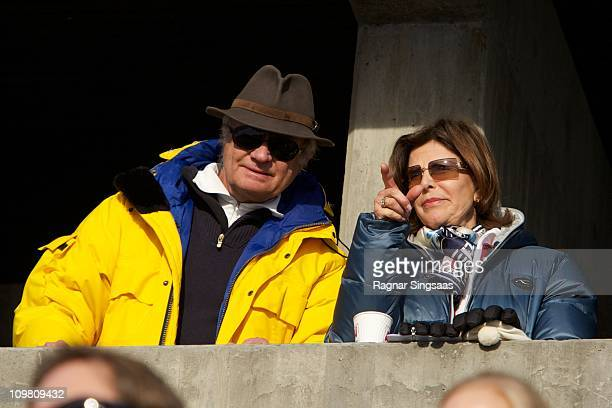 King Carl XVI Gustaf of Sweden and Queen Silvia of Sweden attend the Men's 50km Free Mass Start in the FIS Nordic World Ski Championships 2011 at...