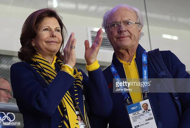 King Carl XVI Gustaf of Sweden and Queen Silvia of Sweden attend the Men's Ice Hockey Preliminary Round Group C game between Sweden and Switzerland...