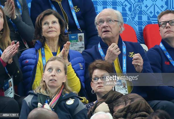 King Carl XVI Gustaf of Sweden and Queen Silvia of Sweden attend the Figure Skating Men's Free Skating on day 7 of the Sochi 2014 Winter Olympics at...