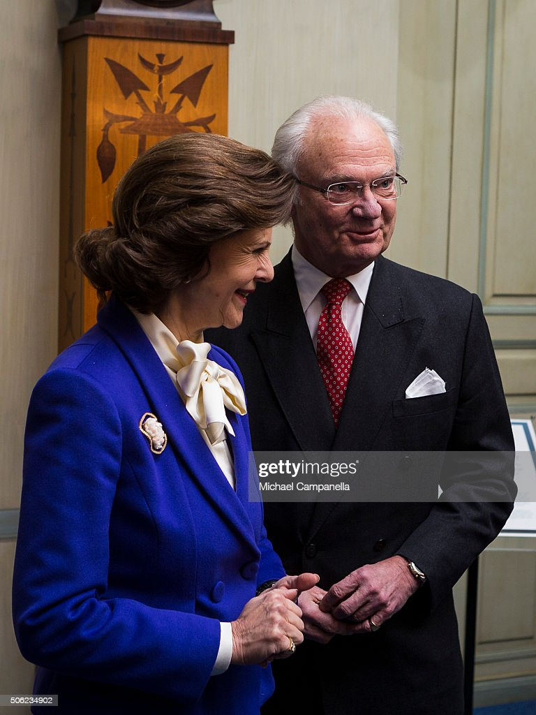 King Carl XVI Gustaf of Sweden and Queen Silvia of Sweden attend the opening of the exhibition 'In Course of Time, 400 Years Of Royal Clocks' at the Royal Palace on January 22, 2016 in Stockholm, Sweden.